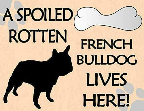 2 Count Top Shelf Novelties A Spoiled Rotten French Bulldog Lives Here! Dog Sign SP1620