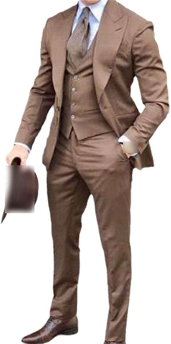 CACLSL Navy Blue Slim-fit Men's Wedding Suit Suit Groom Suit Tuxedo 3-Piece Groomsman Party Suit