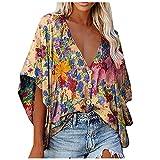 FMYONF Camiseta de verano bohemia para mujer, vintage, estampada, informal, cuello en V, manga corta, camisetas largas, modernas y elegantes, sueltas, con botones, túnica b - amarillo XL