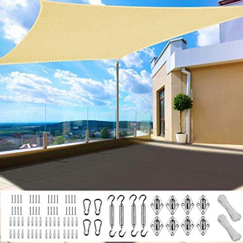 XXJF Sombra Cuadrado Sombra Rectangular Protección Rayos UV Toldo Vela PES , Resistente Desgarro Y,protección para Patio Exteriores Céspede, Jardín, Exteriores, (Color : Sand, tamaño : 3.5x4m)