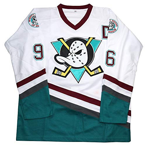 Charlie Conway #96 Mighty Ducks Ice Hockey Jersey S-XXXL (White, XL)
