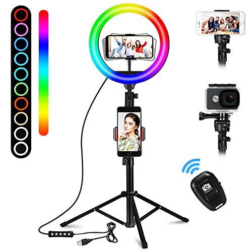 UPhitnis Aro de Luz LED,Aro de Luz de con Trípode Control Remoto Control, Regulable Anillo de luz para Móvil Selfie,Fotografía,Maquillaje,Youtube,TIK Tok