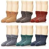 Eocom 6 Pairs Children's Winter Thick Warm Wool Socks Soft Kids Socks Random Color (1-3 Years, Stripe)