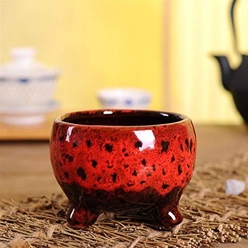 Heigmz hp - Jarrón de piso, 1 maceta de cerámica verde para suculentas y plantas de cerámica para suculentas macetas, tamaño: 9,4 x 7,1 cm (color: rojo)