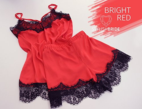 24 Bright Red Pajamas lace silk set with black lace, pajama gift set, red sexy lingerie, red silk lace top and shorts, bridesmaid pajamas