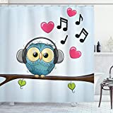 Ambesonne Music Shower Curtain, Cartoon Owl with Headphones Hearts Leaves Fashion Playful Fun, Cloth Fabric Bathroom Decor Set with Hooks, 75' Long, Blue Brown