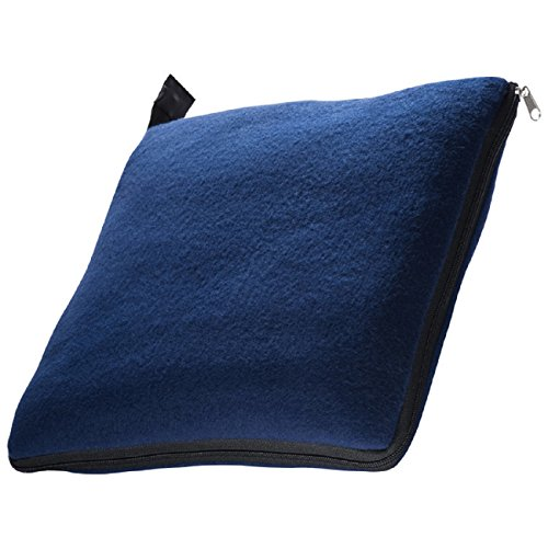 presents & more - Coperta in pile e cuscino XL 180 x 120 cm. Blu scuro
