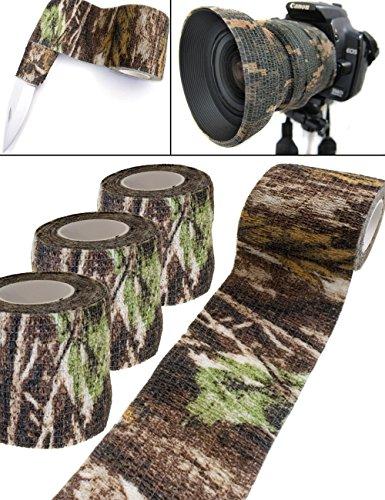 Outdoor Saxx® - Camouflage Tarn-Tape Real-Tree, Real Forest, Gewebe-Band, Tarnung wasserfest mehrfach verwendbar, Kamera, Ausrüstung, Jäger, Angler, Fotografen, 4.5m, 3er Set