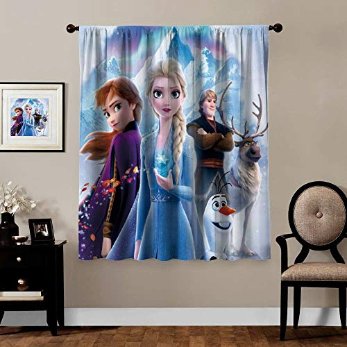 Blackout Curtains,Anna Elsa Olaf Sven (9), Rod Pocket Thermal Insulated Darkening Window Drapes for Bedroom, Cute Animal Boys Girls Room Décor, 1 Panels,63x63 inch