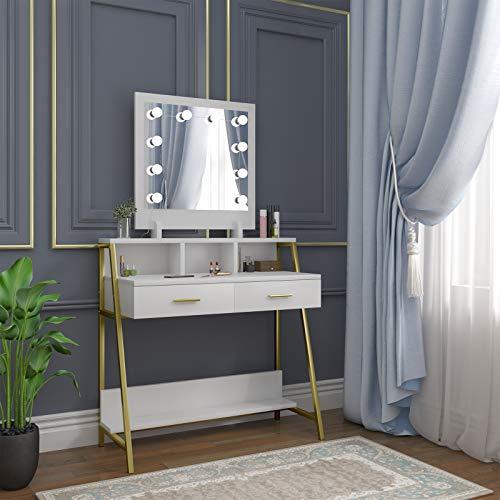 WOLTU Schminktisch mit Beleuchtung Kosmetiktisch LED Spiegel, 2 Schubladen Ablage Schmuckfach 90x135x40 cm Schreibtisch Weiß MB6076ws