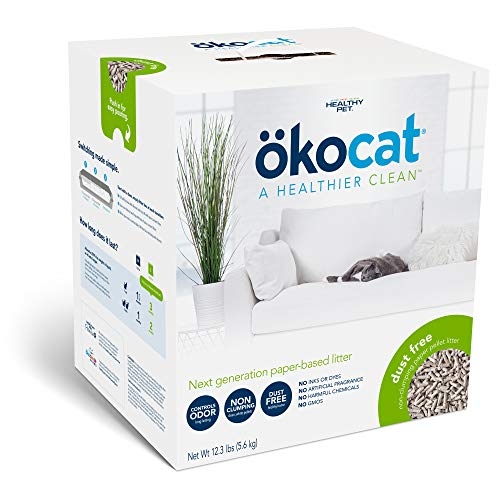 ökocat Dust-Free Natural Paper Non-Clumping Cat Litter Pellets with Odor Control, Large, 12.3 lbs