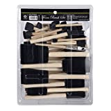 conda 50 Pack 0.5'-2' Different Size Assorted Foam Brush Set Wood Handle Paint Brush Set- Lightweight, Durable, Great for Acrylics, Stains, Varnishes, Crafts