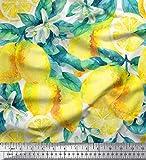 Soimoi Weiß Rayon Krepp Stoff Blätter, und Zitrone Gemuse