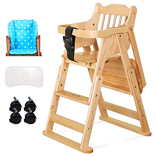 Check Out This LXLA - Wooden High Chair for Baby/Infants/Toddlers, Adjustable Feeding Baby Highchair...