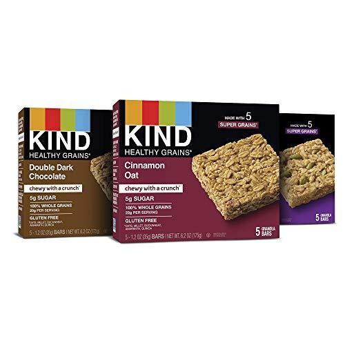 KIND Healthy Grains Granola Bars, Variety Pack, Double Dark Chocolate, Cinnamon Oat, Maple Pumpkin Seeds with Sea Salt, 1.2 oz, 15 Count