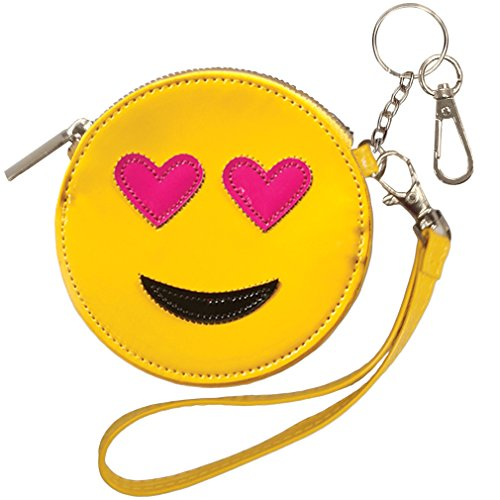 iscream Heart Eyes Emoji Wristlet Clutch Coin and Key Purse in Faux Patent Leather