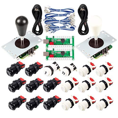 Avisiri 2 Player Arcade Joystick DIY Parts 2X USB Encoder + 2X Elliptical Joystick Hanlde + 18x American Style Arcade Buttons for PC, MAME, Raspberry Pi, Windows (White $ Black)