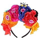 Minkissy Diadema de Rosa Mexicana de Halloween Flor Flor Calavera Corona de Mariposa Corona de Pelo Accesorio de Disfraz para Fiesta de Maquillaje de Cosplay (Colores Surtidos)