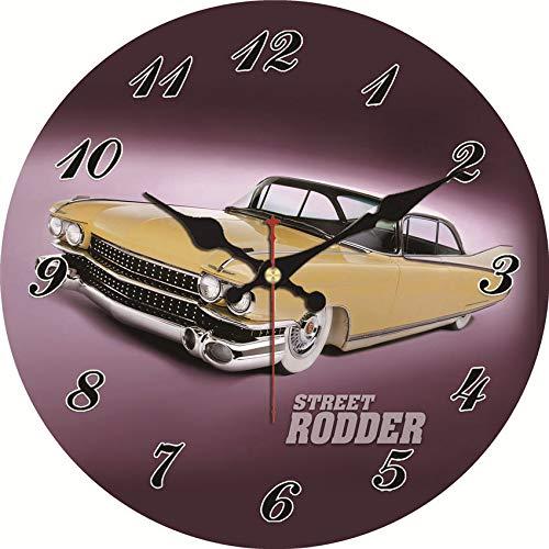 Bdhbeq Reloj de Pared Vintage diseño de Coche Relogio De Parede Gran Sala de Estar silenciosa decoración de Coche clásico Reloj de Cocina Pared 14 Pulgadas (34 cm)