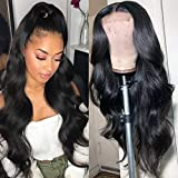 Lace Front Wigs Human Hair for Black Women Pre Plucked Hairline with Baby Hair 150% Denisty Brazilian Body Wave Wigs Natural Color (18 inch, 4x4 Body Wave)