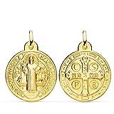 Colgante Escapulario San Benito Monje Oro Amarillo 18 Kilates Medalla 24mm