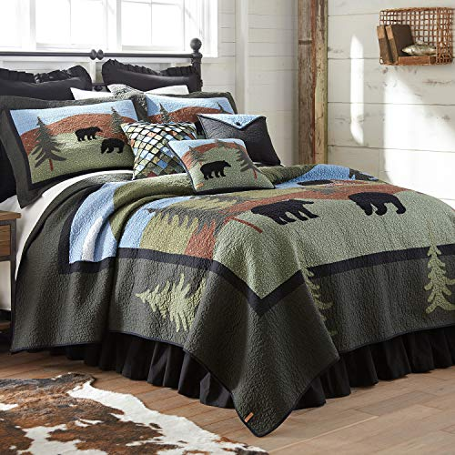 Donna Sharp Full/Queen Bedding Set - 3 Piece - Bear Lake Lodge Quilt Set with Full/Queen Quilt and Two Standard Pillow Shams - Fits Queen Size and Full Size Beds - Machine Washable