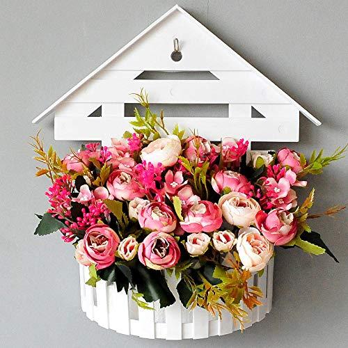 Xgruisi Kunstbloemen, wandbehang, hangende bloemen, in pot om op te hangen, mand, decoratie voor thuis, in spaken en aan de muur gemonteerde planten, camel
