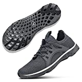 NYZNIA Women's Water Shoes Quick Drying Sports Shoes for Beach Swim Lightweight Slip On Casual Sandals Shoes Dark Grey Size 7.5