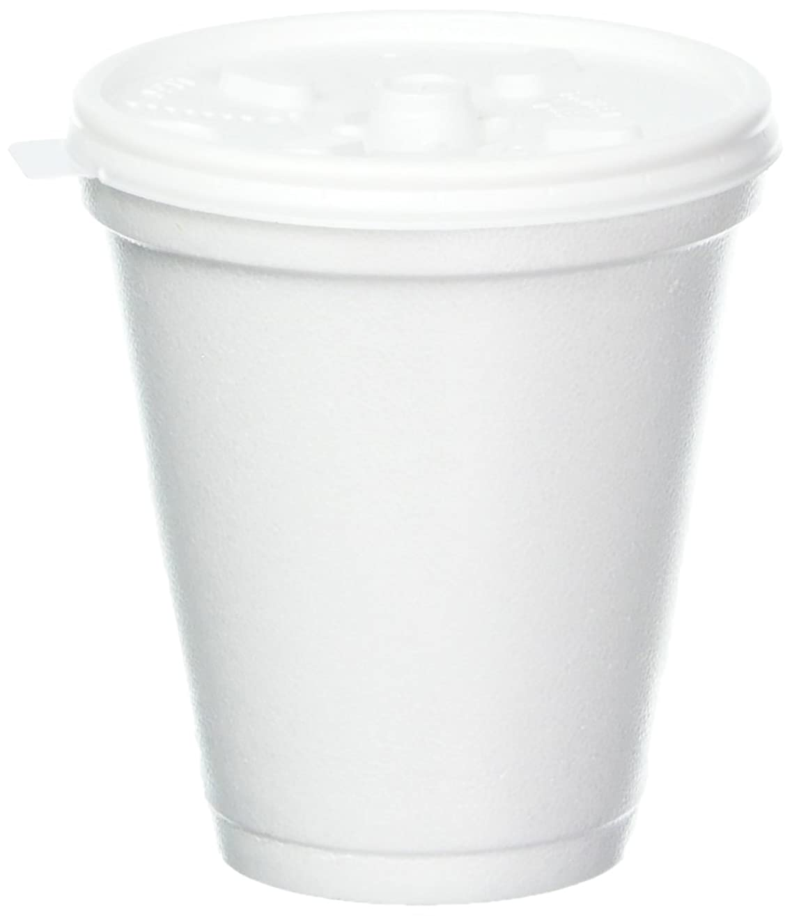 Dart 8 Oz White Disposable Coffee Foam Cups Hot and Cold Drink Cup (Pack of 100 with lids)