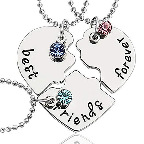 Gleamart Friendship Necklace Best Friends Necklace for 3 Best Friends...