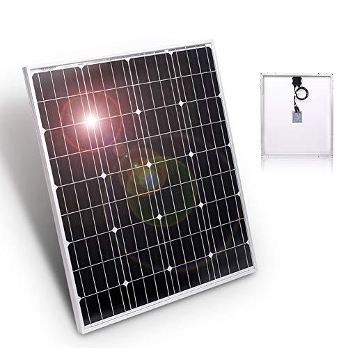 DOKIO 80W Zonnepaneel - Mono kristallijne - 12V - daglichtpaneel - Met Aluminium eind profielen - Met MC4 connectoren - Voor camper, boot, caravan, accu(STEVIG EN EFFICIëNT)