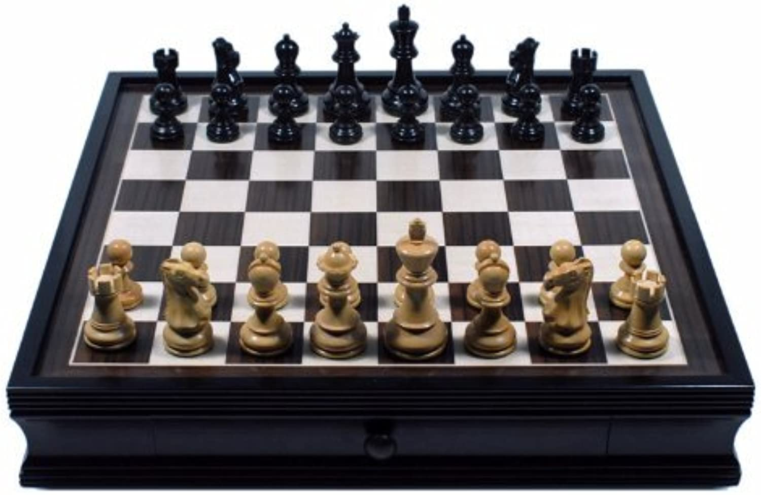 English Chess Set with Pullout Storage Drawers  19 inch by Wood Expressions