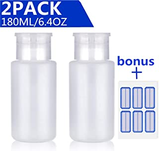 Acetone Pump Dispenser Push Down Pump Dispenser Lockable Alcohol Dispenser Bottle 2 Pack 180ml/6.4oz One-Touch Pump Dispenser Empty Bottle For Alcohol,Acetone,Nail Polish & Makeup Remover,Toner,etc