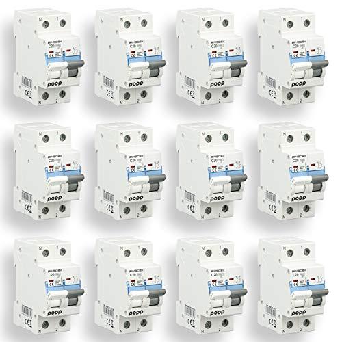 POPP Interruptor Automático Magnetotérmico Doméstica CURVA C corte 6000A 1P+N 10A,16A,20A,25A,32A,40A Pack 6,12 (20A, Pack 12)