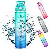 Botella de agua de 1 L con pajita y marcas de tiempo, Tritan sin BPA, reutilizable, a prueba de fugas, para bicicleta al aire libre (degradado azul/verde)