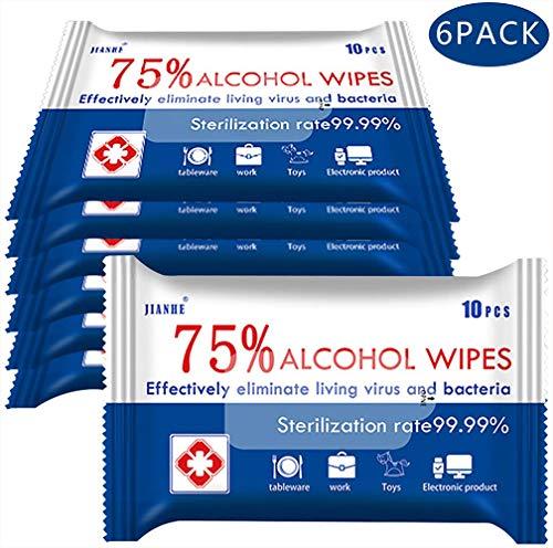 6-pack draagbare desinfectiedoekjes Vochtige doekjes met 75% alcohol voor diepe reiniging van handen, tafels, stoelen, deurknoppen en zitting van toiletmatten, het beste voor openbare plaatsen