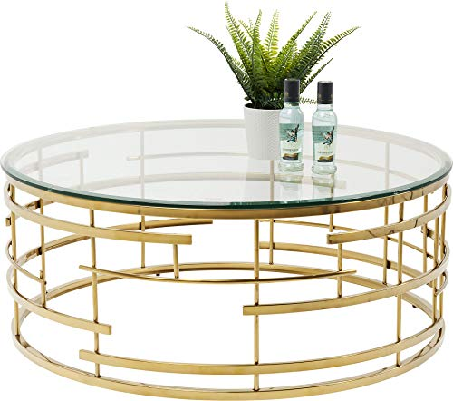 Kare Design Couchtisch Jupiter, runder moderner Wohnzimmertisch mit Glasplatte, großer Sofatisch, gold (H/B/T) 40x100x100cm