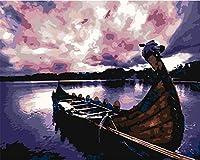 大人のための数字キットによるペイント子供初心者DIY油絵、ブラシとアクリル絵の具アートクラフト、家の壁の装飾海辺の帆船の風景-60x80cm-額装