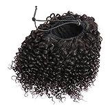 Drawstring Ponytail Extension Human Hair Afro Kinky, Drawstring Curly Ponytail Afro Extensión Cola de Caballo Pelo Natural Humano para las Mujeres Negras 16 Pulgadas 120g 1B# Negro Natural