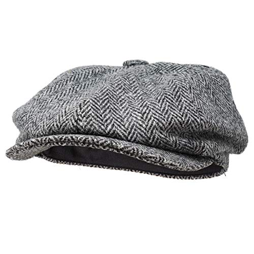 Borges & Scott Gorra Estilo Newsboy Lomond - 100% Lana Tejida a Mano - Harris Tweed - Resistente al Agua - Carbón Herringbone 60cm