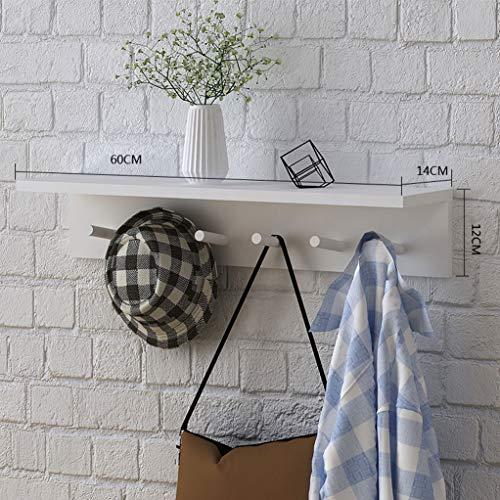 WWWANG Houten Hangende muur hanger - Planken Hanger Op deur van de slaapkamer, Wand Rekken for wandmontage kapstok met haak (Color : White, Size : 60cm)