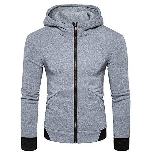 BEIXUNDIANZI Pullover Herren Kapuzenpulli Reißverschluss Slim Hoodies Sweatshirts Pullover Mantel Jacke Streetwear Getäfelte Lederjacke Gray L