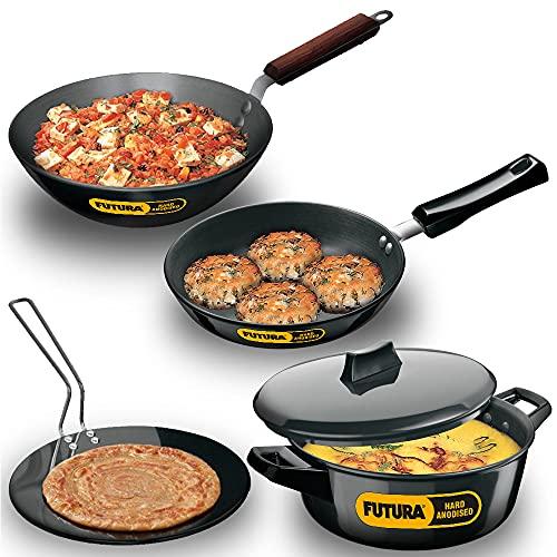 Hawkins Futura Hard Anodised Cookware Set 1 (Tava, Frying Pan, Deep-Fry Pan, Cook-n-Serve Bowl with...