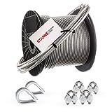 Seilwerk STANKE Rankhilfe PVC Drahtseil ummantelt verzinkt 10m Stahlseil 2mm 1x19, 2x Kausche, 4x Bügelformklemme - SET 1