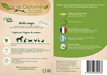 l'herbe Haute ® Terre de Diatomée Blanche Alimentaire - 1,5 kg Kraft - Utilisable en Agriculture Biologique - Origine Naturelle sans Transformation Chimique - Nombreux usages