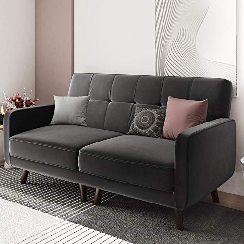 Belffin Velvet 2 Seater Sofa Fabric Couch Small Love Seat Sofa 2 Seater Grey