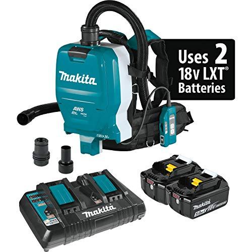 Makita XCV10PTX 18V X2 LXT Lithium-Ion (36V) Brushless Cordless 1/2 Gallon HEPA Filter Backpack Dry Dust Extractor Kit, AWS Capable (5.0Ah)