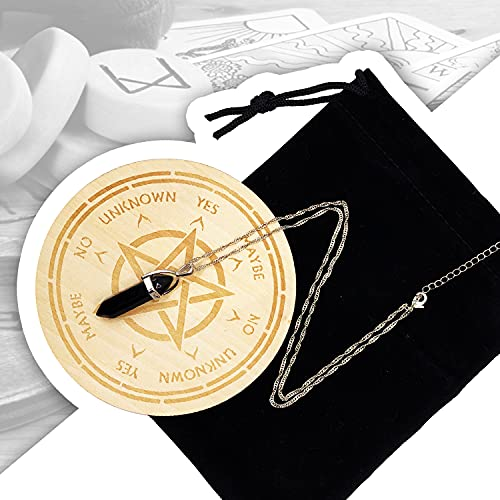 wunderlin Witchcraft Pendulum Board Star Dowsing Divination Supernatural Message Board Wooden Carving Board with a Crystal Dowsing Pendulum Necklace Witchcraft Wiccan Altar Supplies Kit