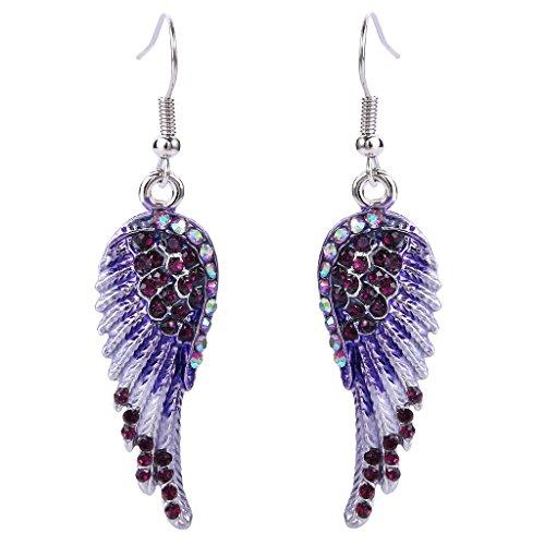 EVER FAITH Angel Wing Hook Earrings Austrian Crystal Purple AB Silver-Tone