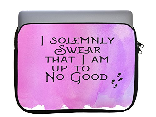 I Solemnly Swear That I Am Up to No Good Quote Pink Background Design Print Image Artwork 11x14 inch Neoprene Zippered Laptop Sleeve Bag by Trendy Accessories for MacBook or Any Other Laptop
